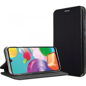 Samsung Galaxy A42 5G oldalra nyíló (Elegance) flip tok, FEKETE - mob-tok-shop.hu
