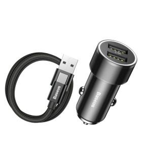 Baseus autós töltő, Small Screw Dupla USB + Type-C kábel, max 3.4A, fekete - mob-tok-shop.hu