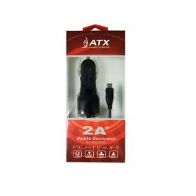 ATX autós töltő Micro USB csatlakozással, +USB port 2A, Fekete - mob-tok-shop.hu