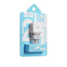 HOCO C22A hálózati töltő USB aljzat (5V / 2,4A, Lightning kábel) FEHÉR - mob-tok-shop.hu