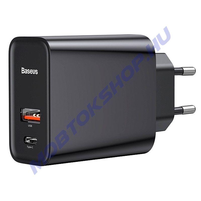 Baseus Speed PPS QC3.0 USB Type-C hálózati gyorstöltő adapter (CCFS-C02), FEKETE - mob-tok-shop.hu