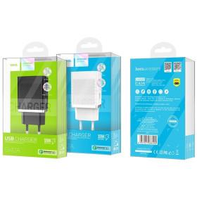 HOCO C42A hálózati töltő USB aljzat (5V / 2000mA, 18W, PD gyorstöltés támogatás), FEHÉR - mob-tok-shop.hu
