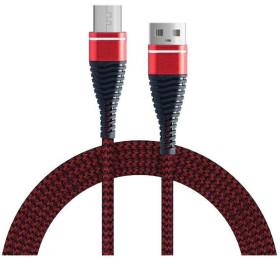 Szövet borítású Armor Micro USB adat és töltőkábel, PIROS - mob-tok-shop.hu