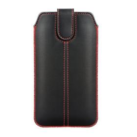 Bújtatós slim tok piros varrással (SAM Note 8 / Note 9 / Note 10+ méret), FEKETE - mob-tok-shop.hu